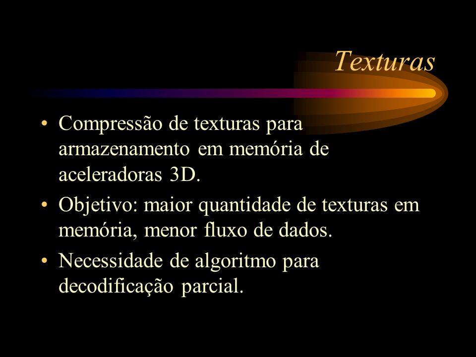 Texturas Compressão de texturas para armazenamento em memória de aceleradoras 3D.