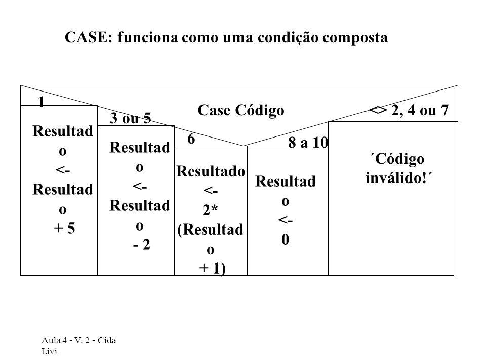 CASE: funciona como uma condição composta