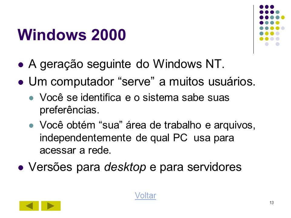 Windows 2000 A geração seguinte do Windows NT.