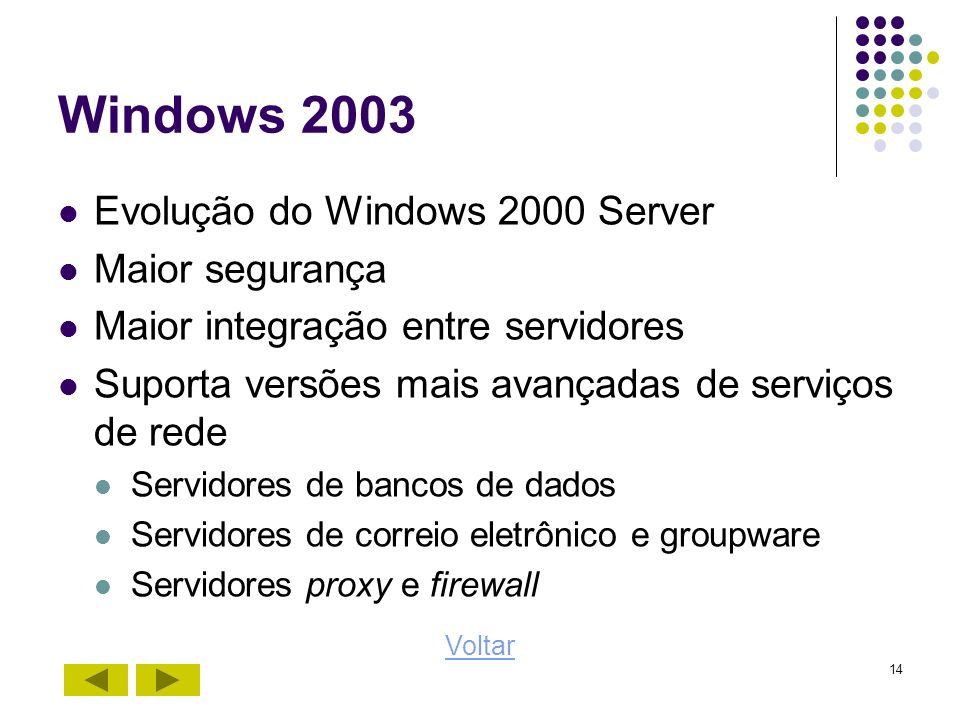 Windows 2003 Evolução do Windows 2000 Server Maior segurança