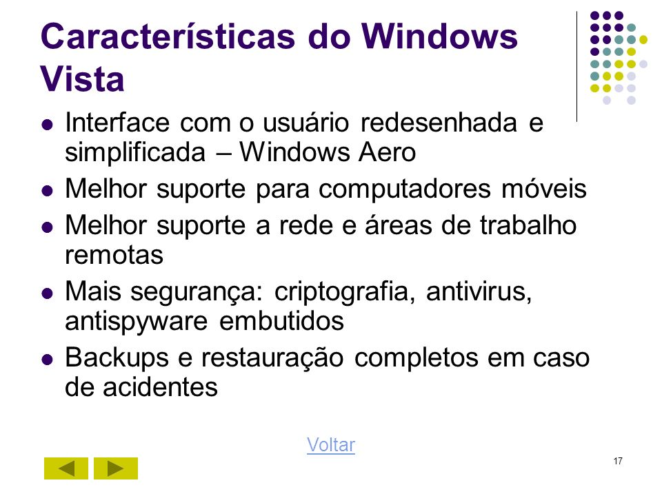 Características do Windows Vista