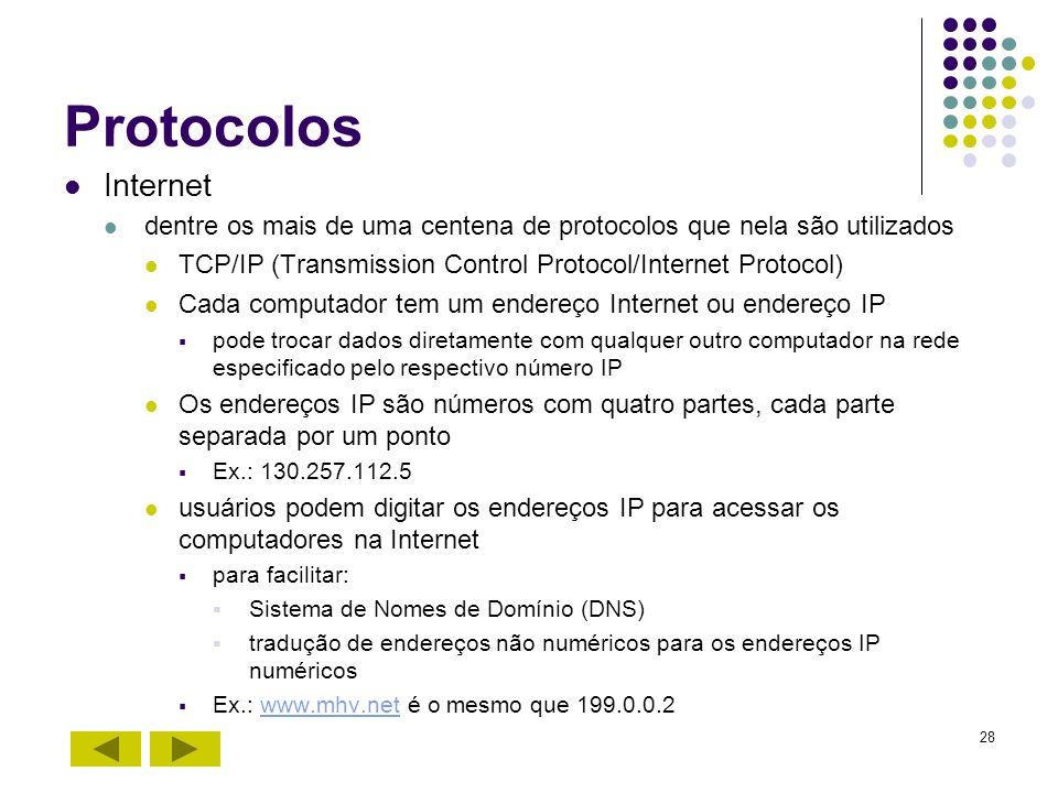 ProtocolosInternet. dentre os mais de uma centena de protocolos que nela são utilizados. TCP/IP (Transmission Control Protocol/Internet Protocol)