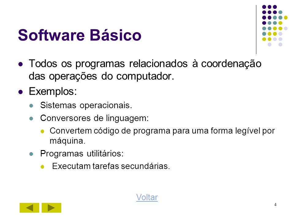 Software Básico Todos os programas relacionados à coordenação das operações do computador. Exemplos: