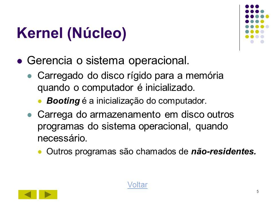 Kernel (Núcleo) Gerencia o sistema operacional.
