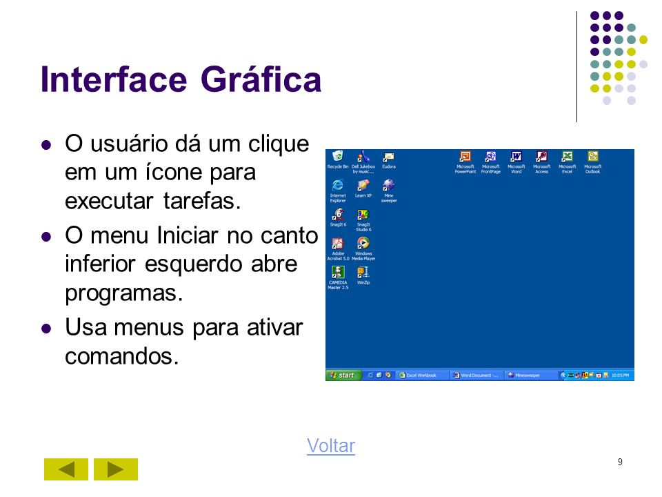 Interface GráficaO usuário dá um clique em um ícone para executar tarefas. O menu Iniciar no canto inferior esquerdo abre programas.