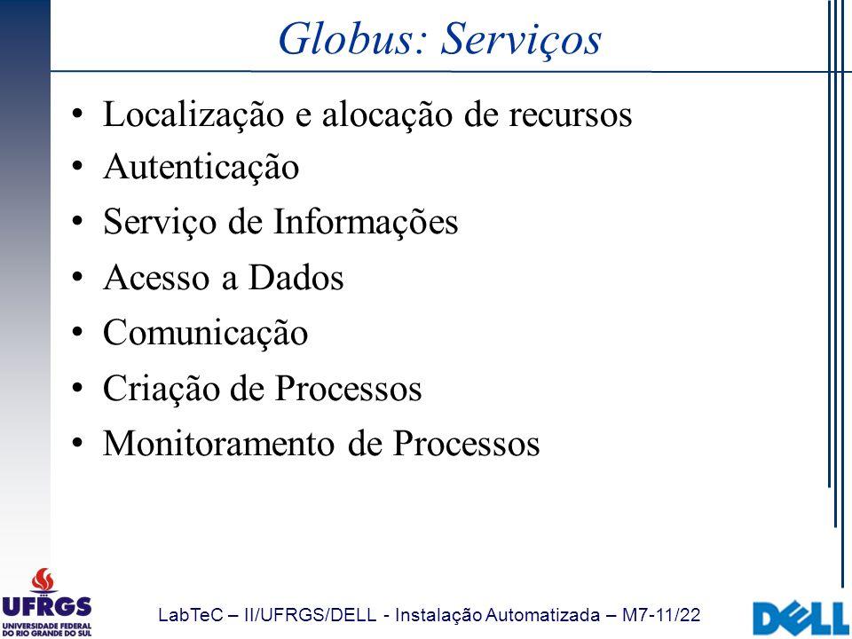 Globus: Serviços Localização e alocação de recursos Autenticação
