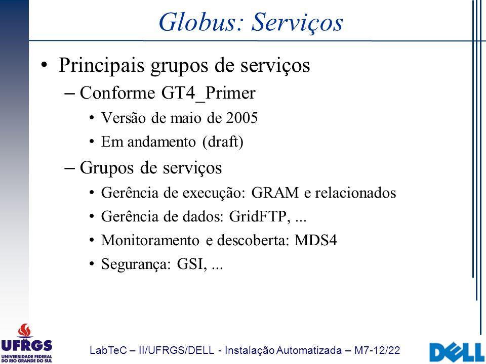 Globus: Serviços Principais grupos de serviços Conforme GT4_Primer