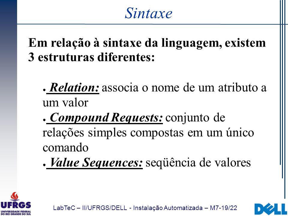 Sintaxe Em relação à sintaxe da linguagem, existem 3 estruturas diferentes: Relation: associa o nome de um atributo a um valor.