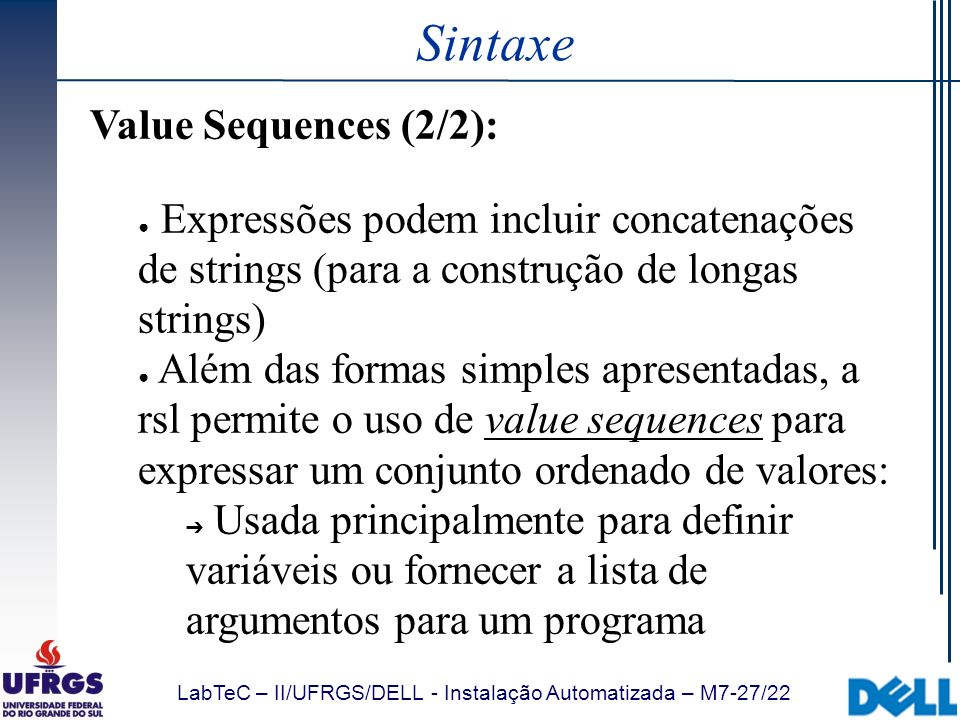 Sintaxe Value Sequences (2/2):