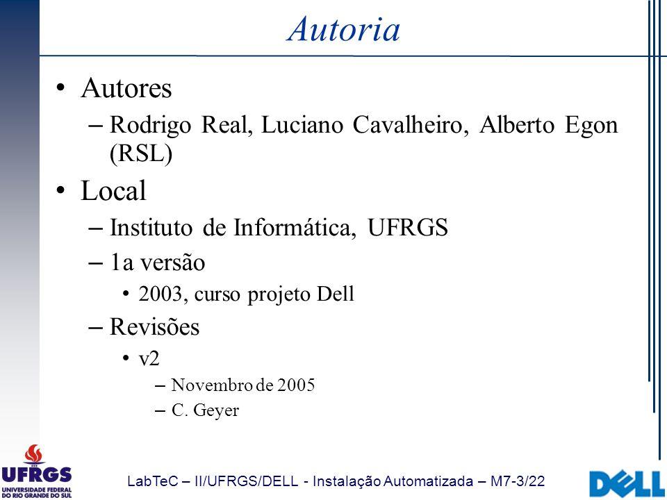 Autoria Autores. Rodrigo Real, Luciano Cavalheiro, Alberto Egon (RSL) Local. Instituto de Informática, UFRGS.