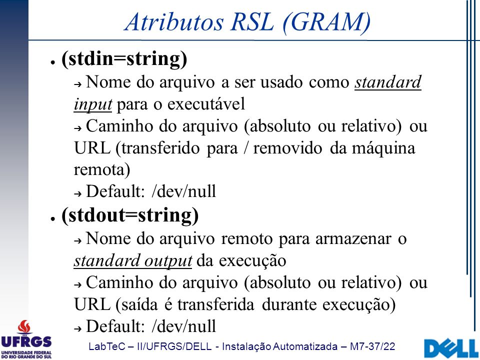 Atributos RSL (GRAM) (stdin=string) (stdout=string)