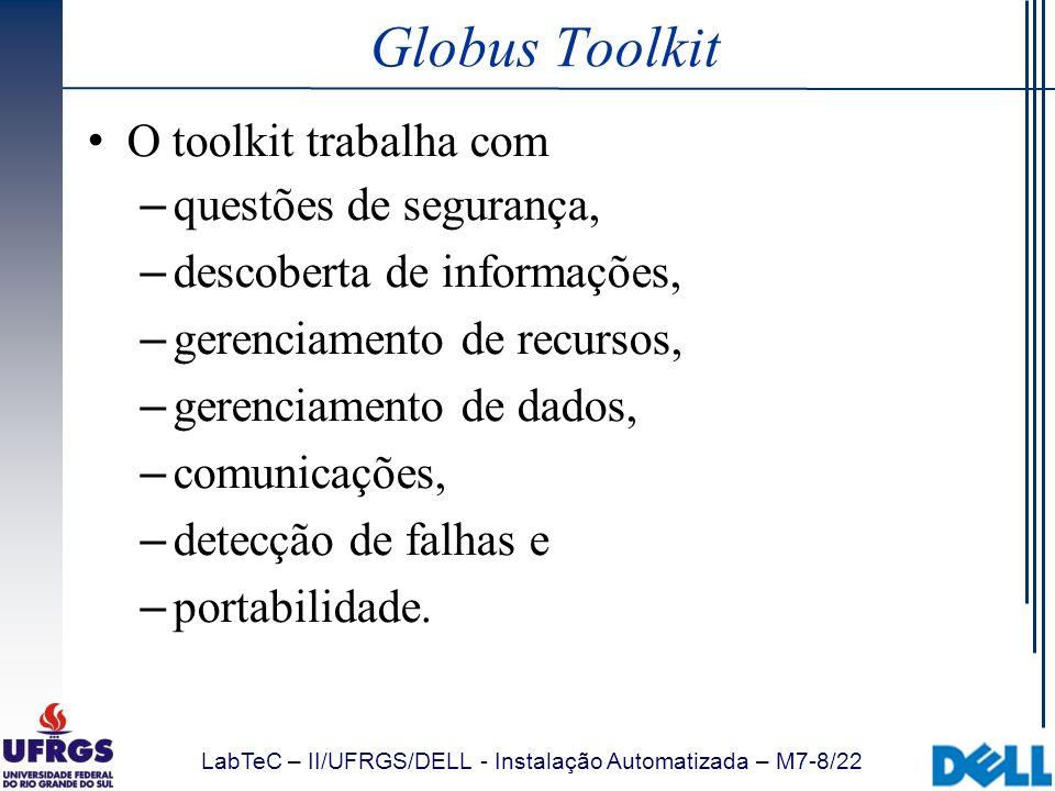Globus Toolkit O toolkit trabalha com questões de segurança,
