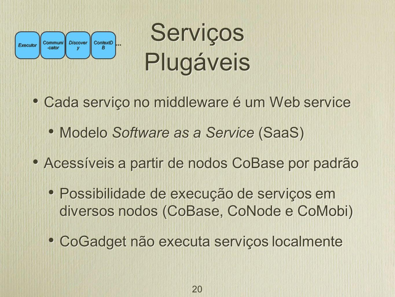 Serviços Plugáveis Cada serviço no middleware é um Web service