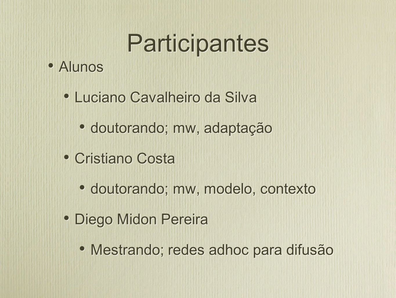 Participantes Alunos Luciano Cavalheiro da Silva