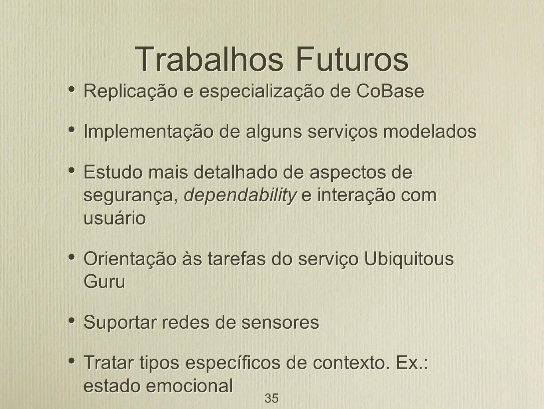 Trabalhos Futuros Replicação e especialização de CoBase
