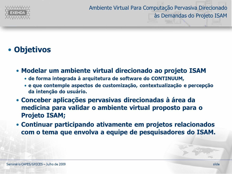 Objetivos Modelar um ambiente virtual direcionado ao projeto ISAM