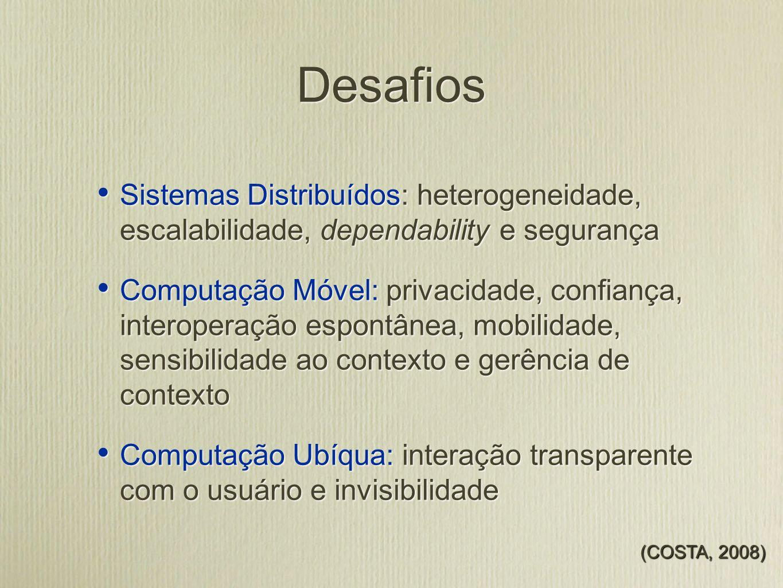 Desafios Sistemas Distribuídos: heterogeneidade, escalabilidade, dependability e segurança.