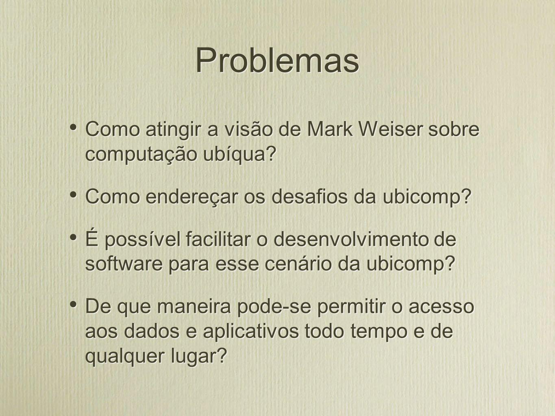 Problemas Como atingir a visão de Mark Weiser sobre computação ubíqua