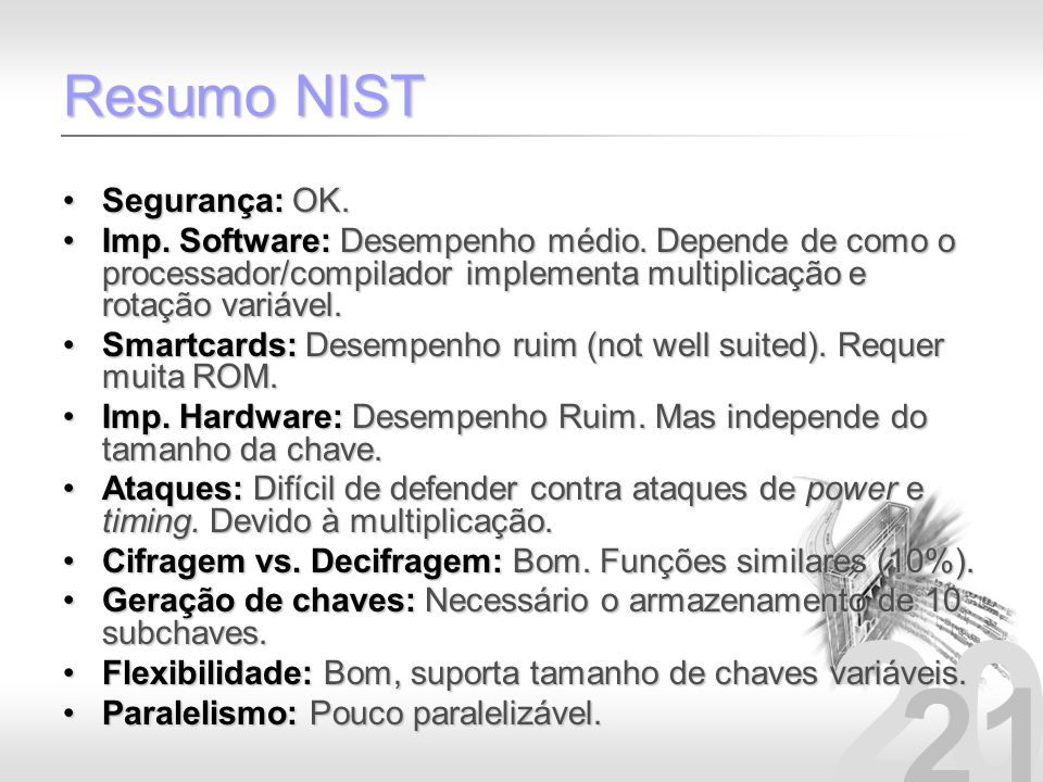 Resumo NIST Segurança: OK.