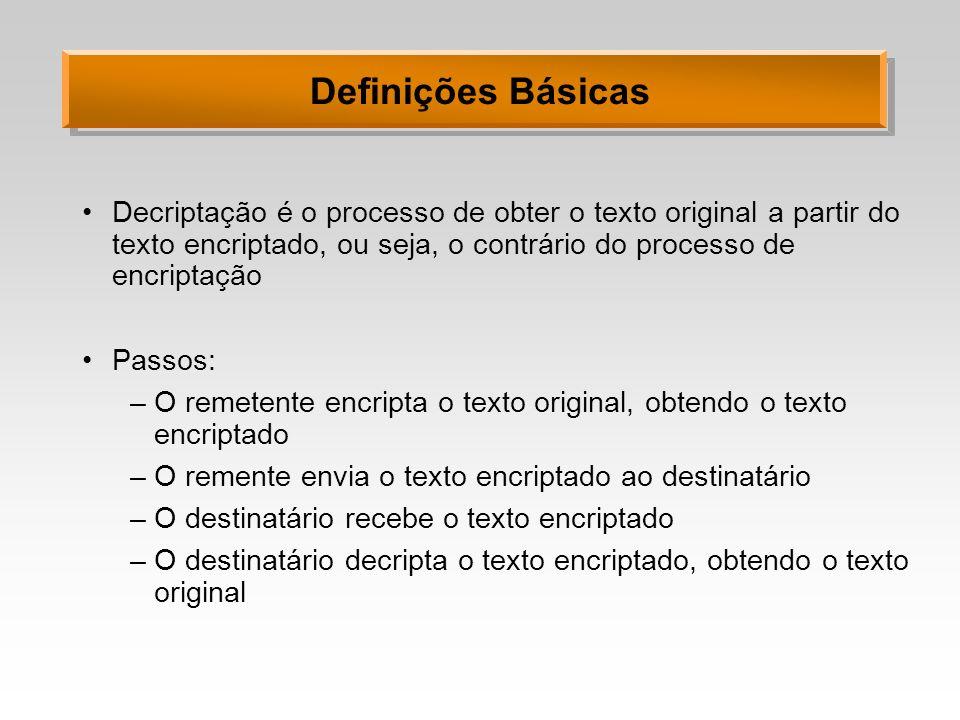 Definições Básicas Decriptação é o processo de obter o texto original a partir do texto encriptado, ou seja, o contrário do processo de encriptação.