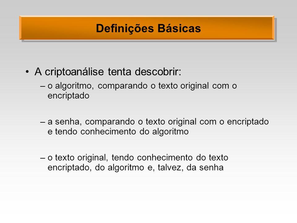 Definições Básicas A criptoanálise tenta descobrir: