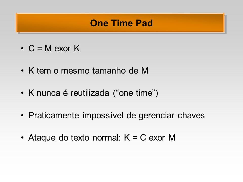 One Time Pad C = M exor K K tem o mesmo tamanho de M