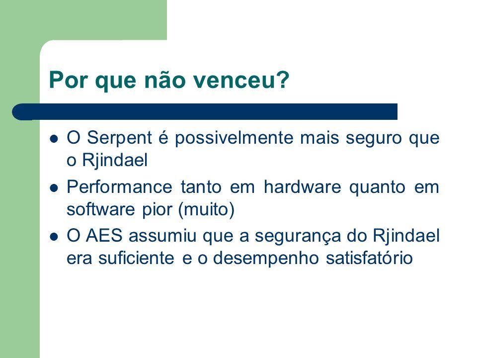 Por que não venceu O Serpent é possivelmente mais seguro que o Rjindael. Performance tanto em hardware quanto em software pior (muito)