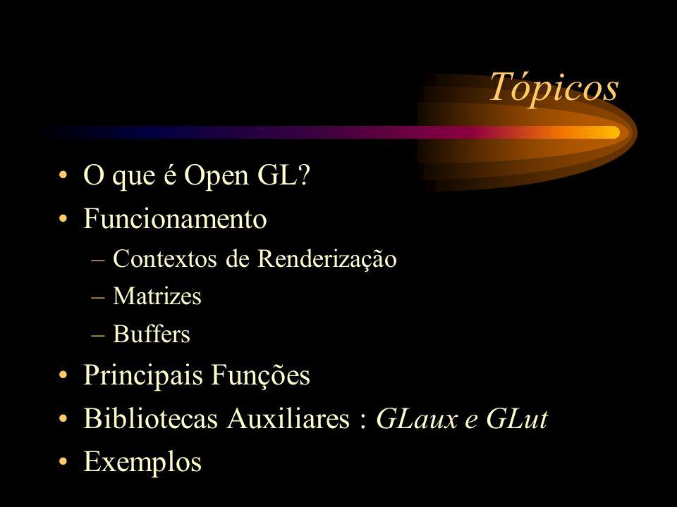 Tópicos O que é Open GL Funcionamento Principais Funções