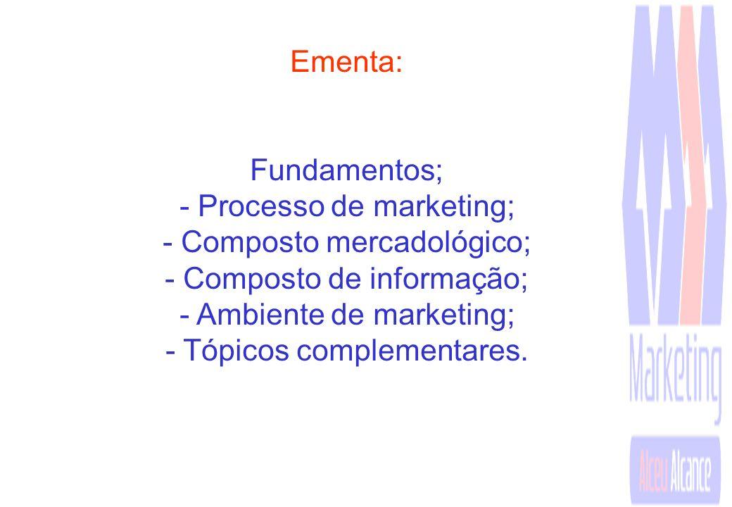 - Processo de marketing; - Composto mercadológico;