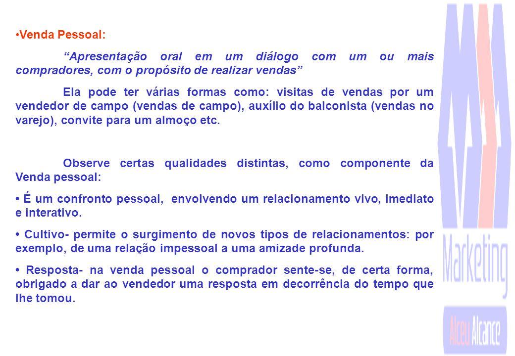 Venda Pessoal: Apresentação oral em um diálogo com um ou mais compradores, com o propósito de realizar vendas