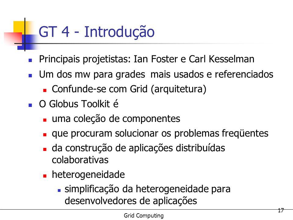 GT 4 - Introdução Principais projetistas: Ian Foster e Carl Kesselman