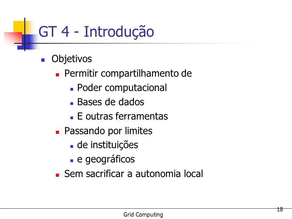 GT 4 - Introdução Objetivos Permitir compartilhamento de