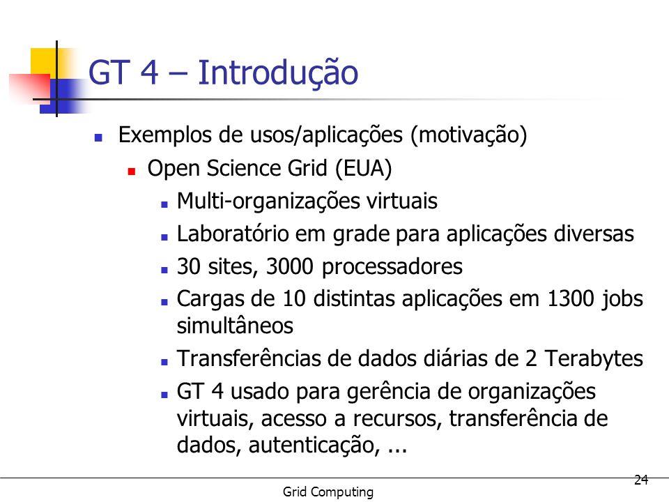 GT 4 – Introdução Exemplos de usos/aplicações (motivação)