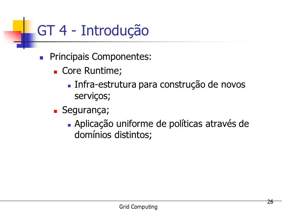 GT 4 - Introdução Principais Componentes: Core Runtime;