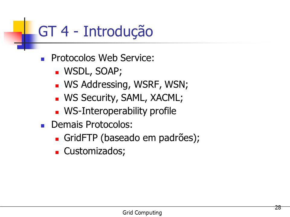 GT 4 - Introdução Protocolos Web Service: WSDL, SOAP;
