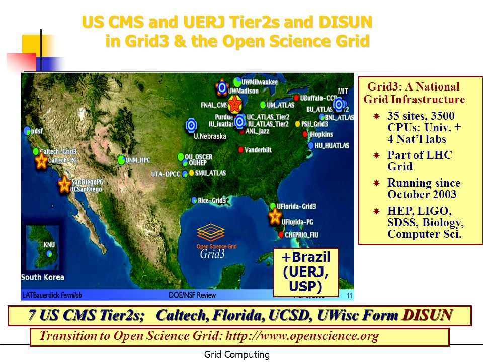 7 US CMS Tier2s; Caltech, Florida, UCSD, UWisc Form DISUN