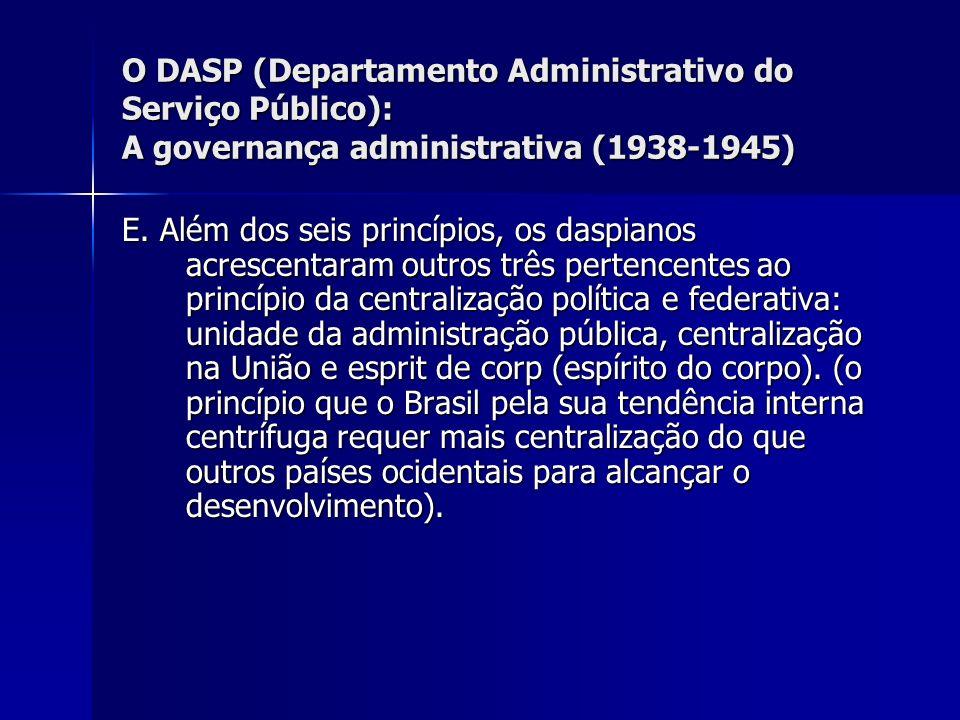 O DASP (Departamento Administrativo do Serviço Público): A governança administrativa (1938-1945)
