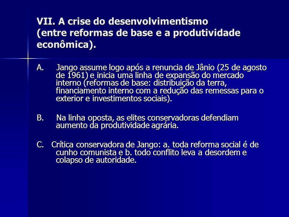 VII. A crise do desenvolvimentismo (entre reformas de base e a produtividade econômica).