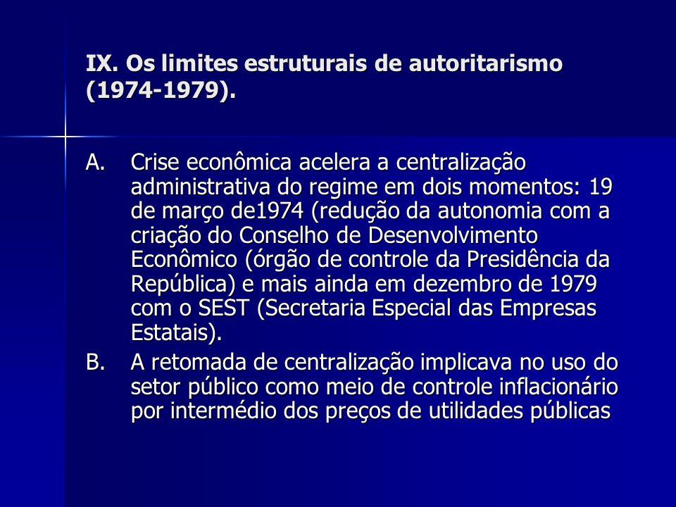 IX. Os limites estruturais de autoritarismo (1974-1979).