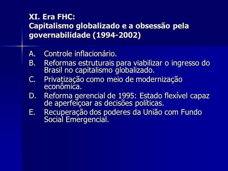 XI. Era FHC: Capitalismo globalizado e a obsessão pela governabilidade (1994-2002)