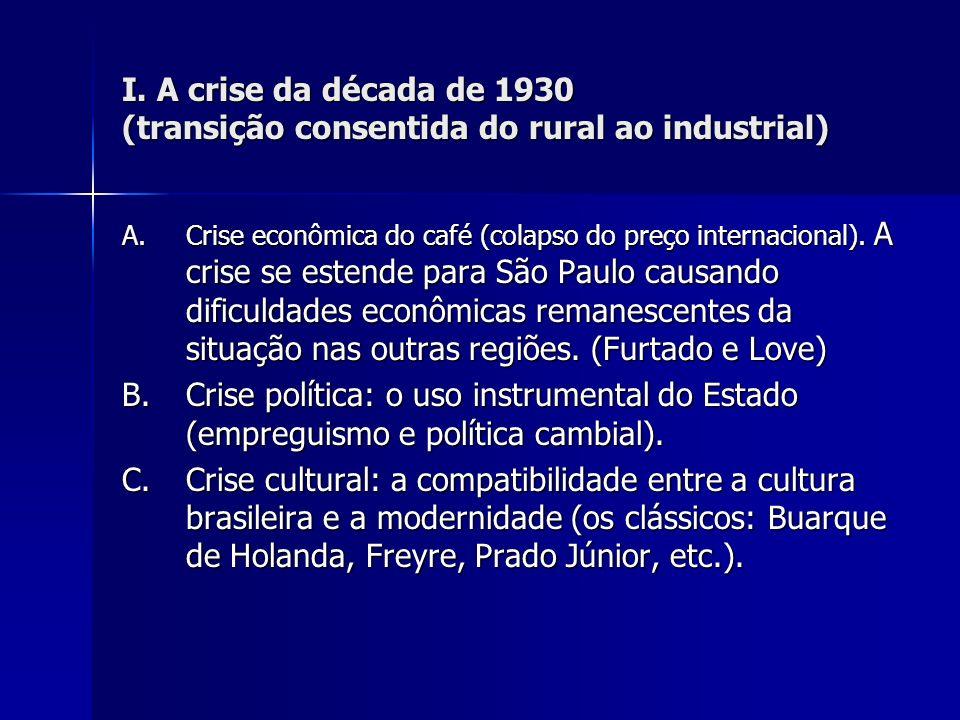 I. A crise da década de 1930 (transição consentida do rural ao industrial)