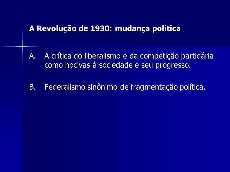 A Revolução de 1930: mudança política