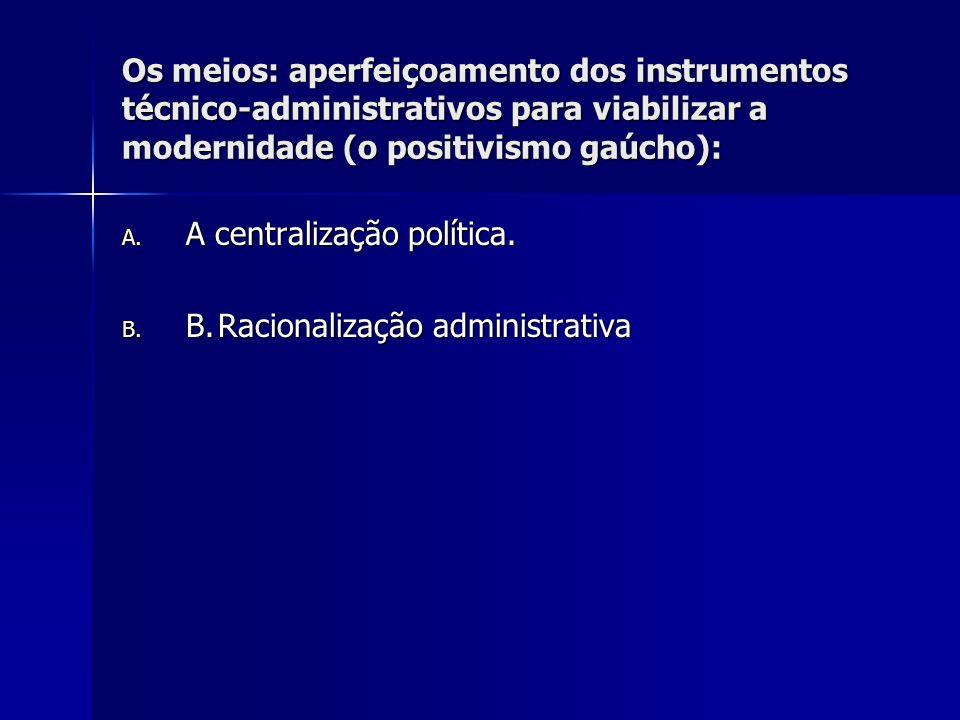 Os meios: aperfeiçoamento dos instrumentos técnico-administrativos para viabilizar a modernidade (o positivismo gaúcho):
