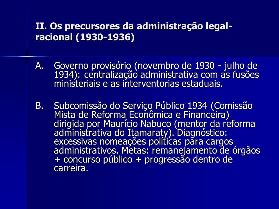 II. Os precursores da administração legal-racional (1930-1936)