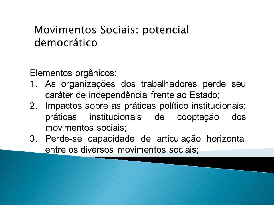 Movimentos Sociais: potencial democrático