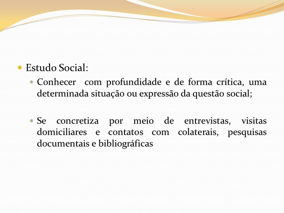 Estudo Social:Conhecer com profundidade e de forma crítica, uma determinada situação ou expressão da questão social;