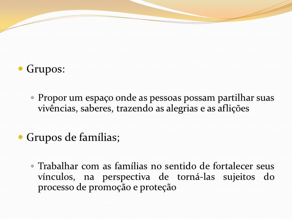 Grupos: Grupos de famílias;