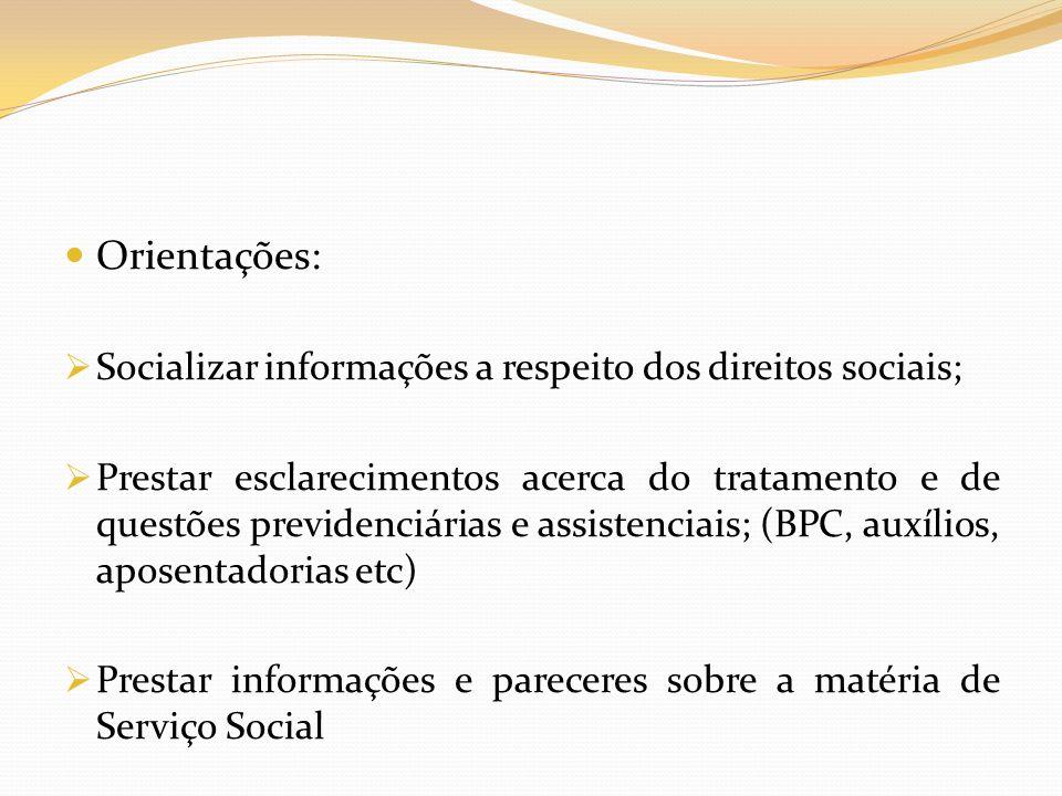 Orientações: Socializar informações a respeito dos direitos sociais;