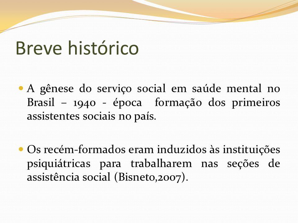 Breve históricoA gênese do serviço social em saúde mental no Brasil – 1940 - época formação dos primeiros assistentes sociais no país.