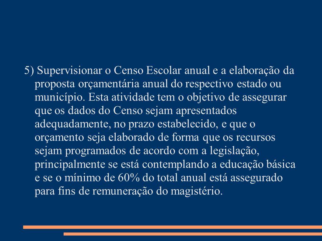 5) Supervisionar o Censo Escolar anual e a elaboração da proposta orçamentária anual do respectivo estado ou município.